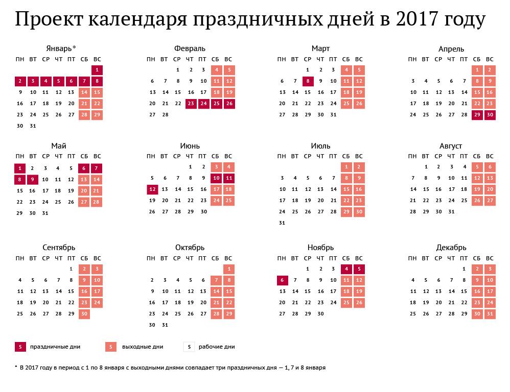 Праздничные дни 2017
